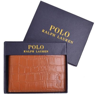 POLO RALPH LAUREN 馬球壓印LOGO鱷魚紋皮革短夾- 焦糖(附原廠禮盒)