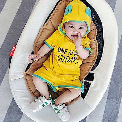 Baby unicorn 黃色字母連帽短袖套裝2件組