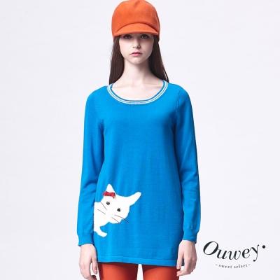 OUWEY歐薇-側邊貓咪圖長版毛衣-共2色
