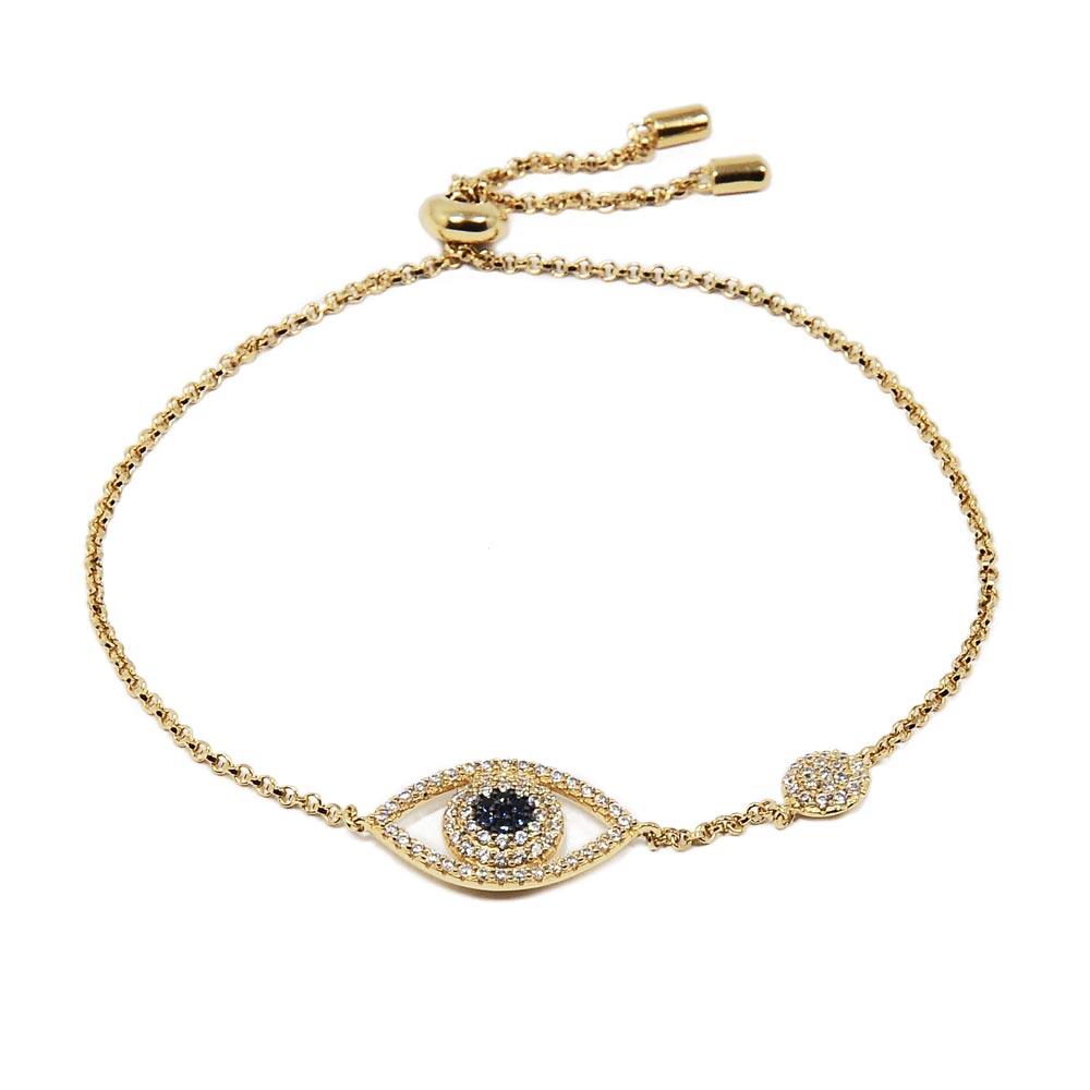 apm MONACO法國精品珠寶 璀璨之眼鍍K金鑲鋯可調整手鍊手環