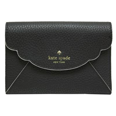 Kate spade kieran 三折扣式牛皮中夾-黑色