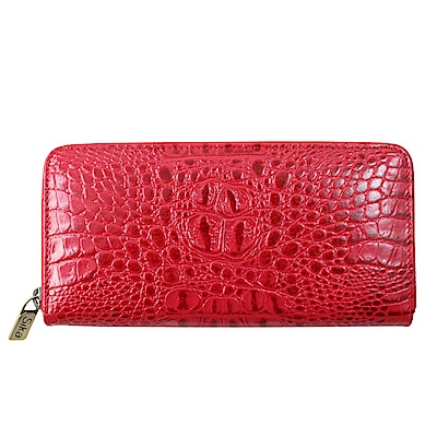 Sika義大利時尚牛皮壓鱷魚紋拉鍊長夾S8236-04魅惑紅