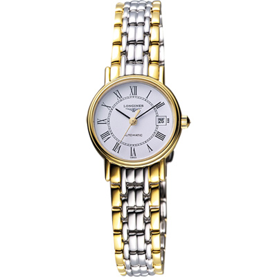 LONGINES Presence 經典羅馬機械女錶-白x半金版/25.5mm L43212117
