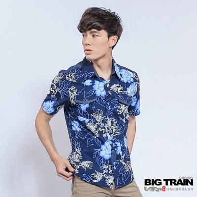 BIG TRAIN 堂獅印花短袖襯衫-男-深藍