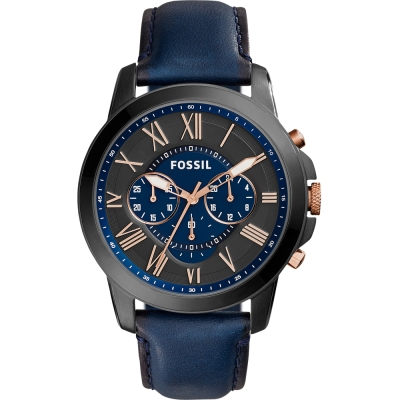 FOSSIL Grant經典復刻三眼計時腕錶-黑X藍/44mm