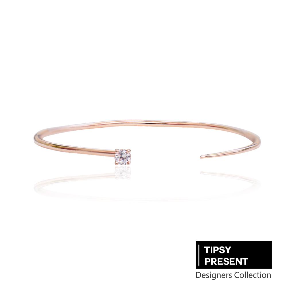 微醺禮物韓製鋯石鍍16K金單鑽開口式手環