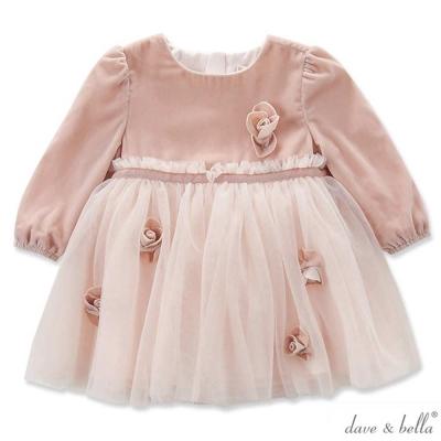 Dave Bella 珊瑚粉花朵長袖燈芯絨紗裙洋裝