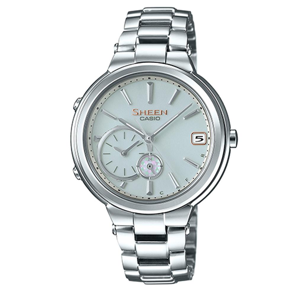 SHEEN 優雅智慧藍芽傳輸太陽能日曆腕錶(SHB-200D-7A)-銀/35mm