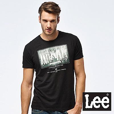 Lee 牛仔照片印刷短袖圓領TEE-男款-黑
