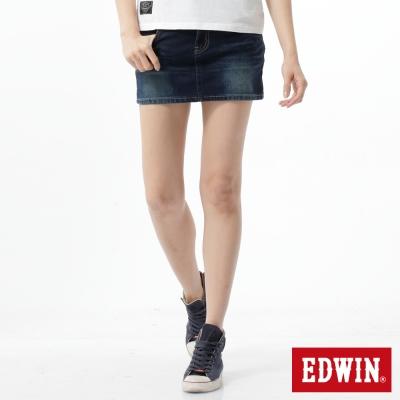 EDWIN 短裙 迦績黑腰頭牛仔短裙-女-酵洗藍