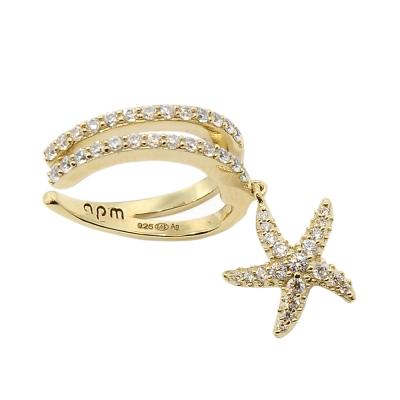 apm MONACO法國精品珠寶 閃耀金色海星鑲鋯單邊耳骨夾耳環