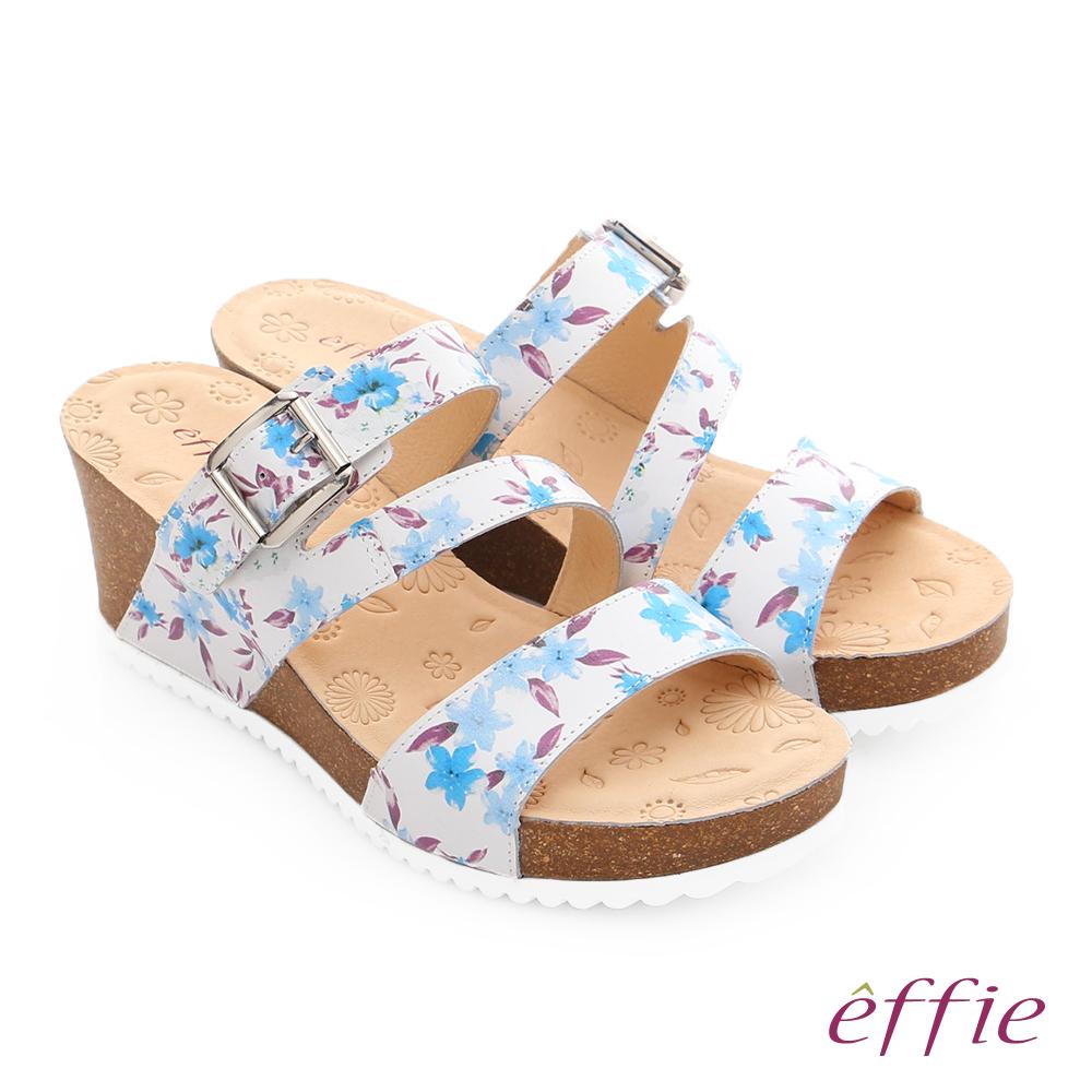 effie 嬉皮假期 真皮彩色繽紛印花厚底涼拖鞋 粉藍色