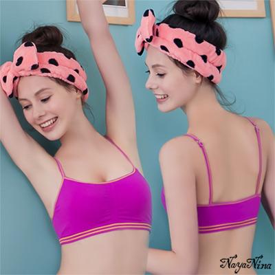 運動內衣 無鋼圈 抓皺細肩運動背心S-XL(紫) Naya Nina