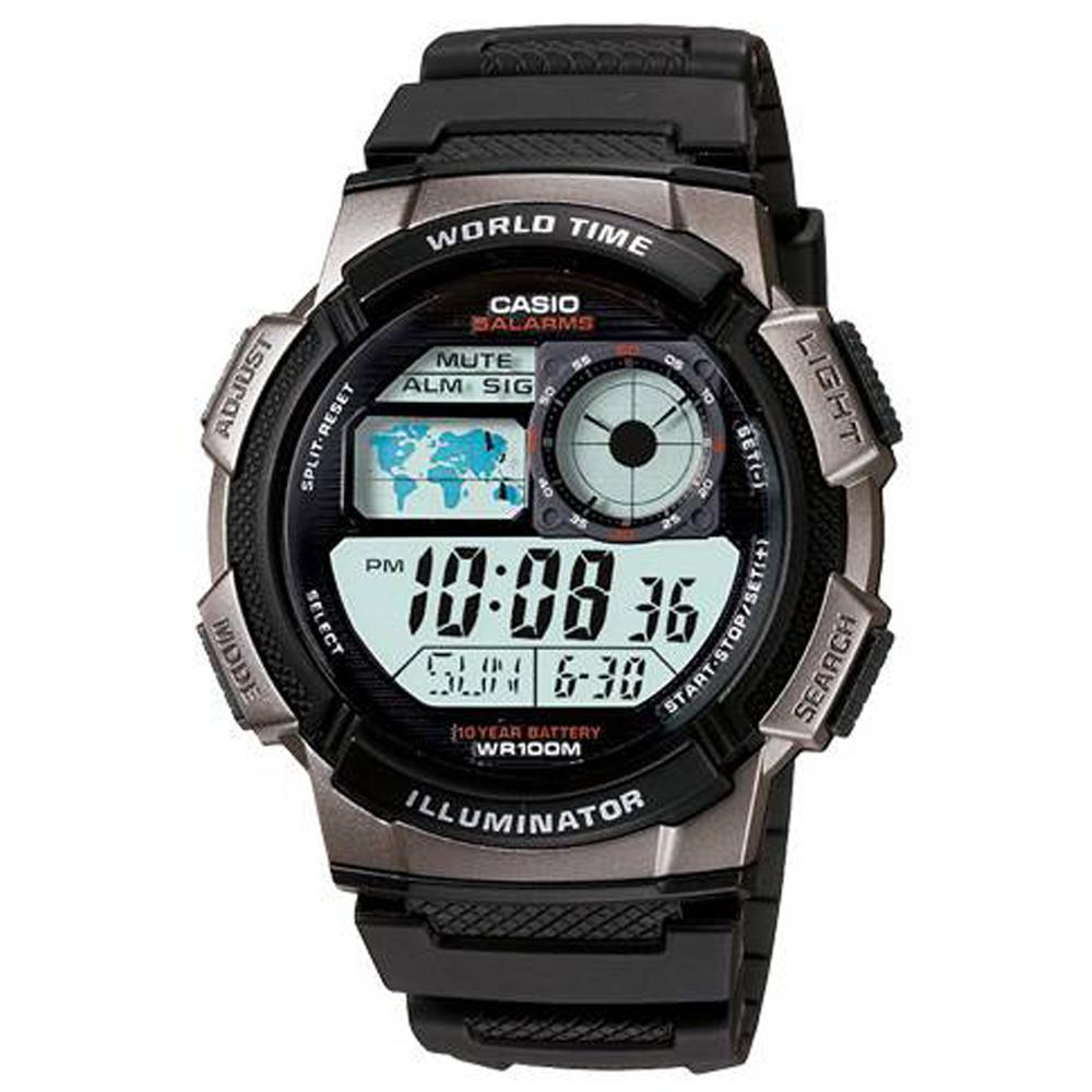 CASIO 世界之城電子數位膠帶錶(AE-1000W-1B)-銀框/43.7mm