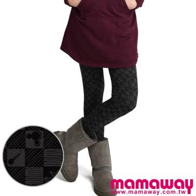 Mamaway迪士尼米奇棋盤格貼腿褲深灰