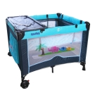 寶盟BAUMER 親子象遊戲床(水藍) 加雙層架及尿布台