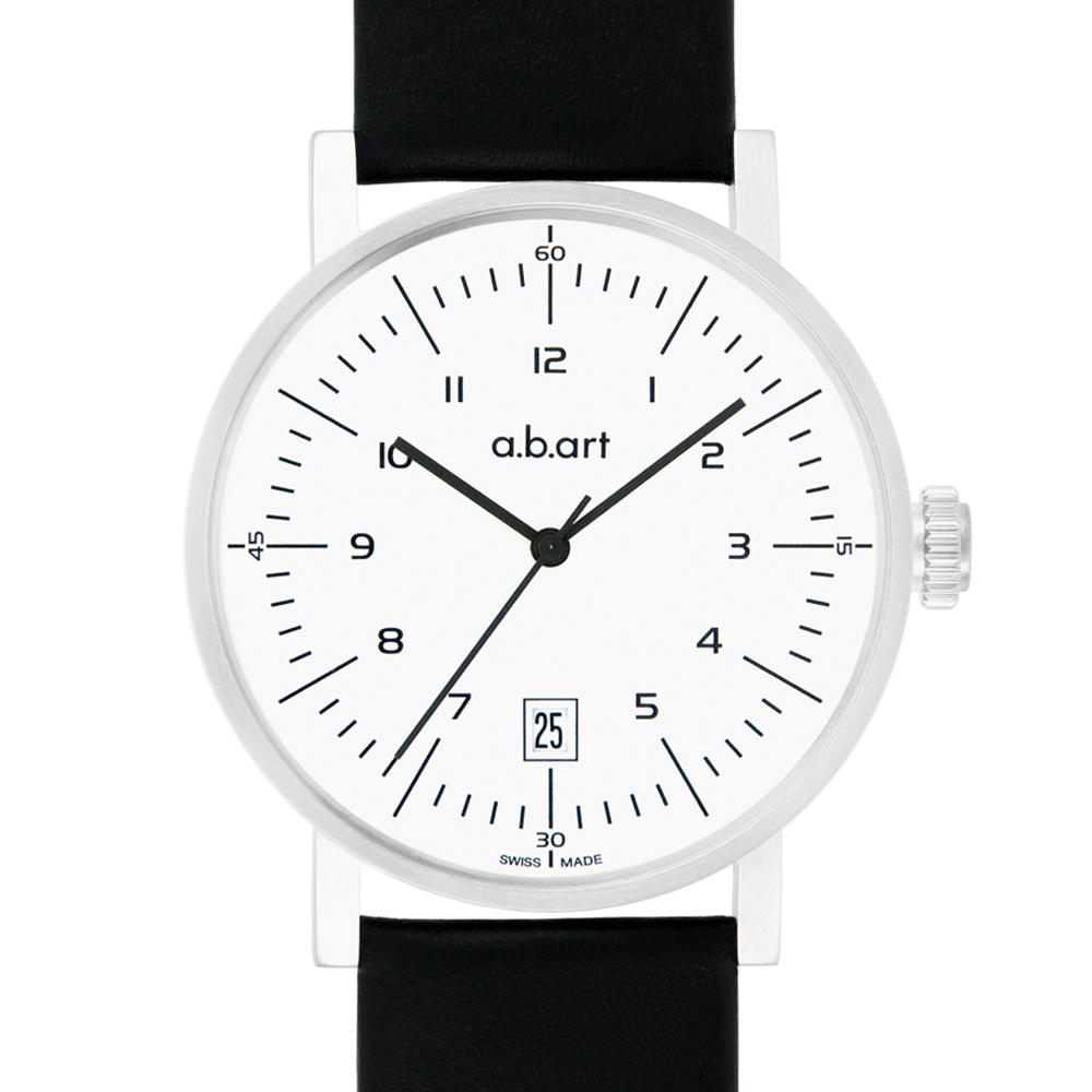 a.b.art OA系列 包浩斯經典設計自動上鍊機械腕錶-白/40.5mm