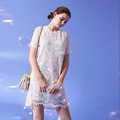 氣質浪漫全白圓領蕾絲透膚袖設計洋裝-白