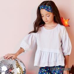 Little moni 浪漫荷葉下襬襯衫 亮天藍
