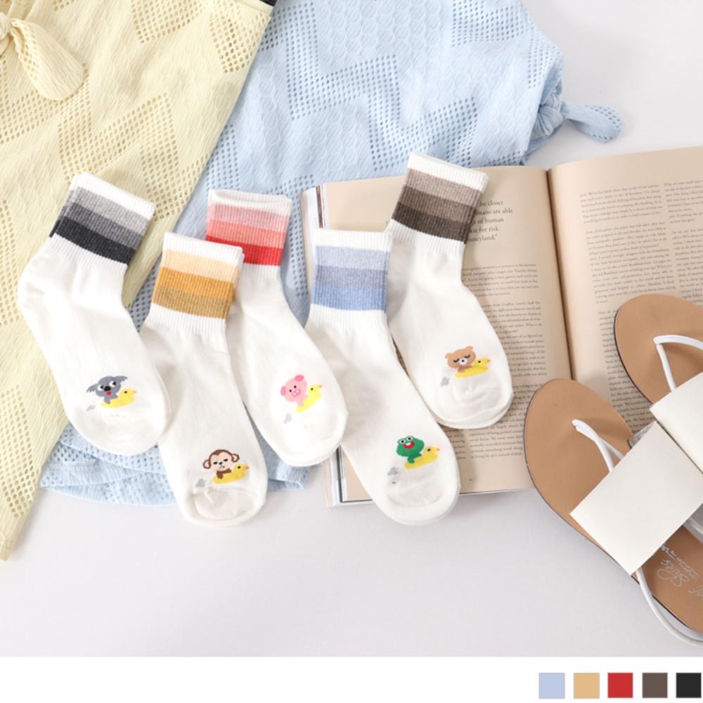 韓國漸層色綴可愛動物圖案短筒襪.5色-OB大尺碼