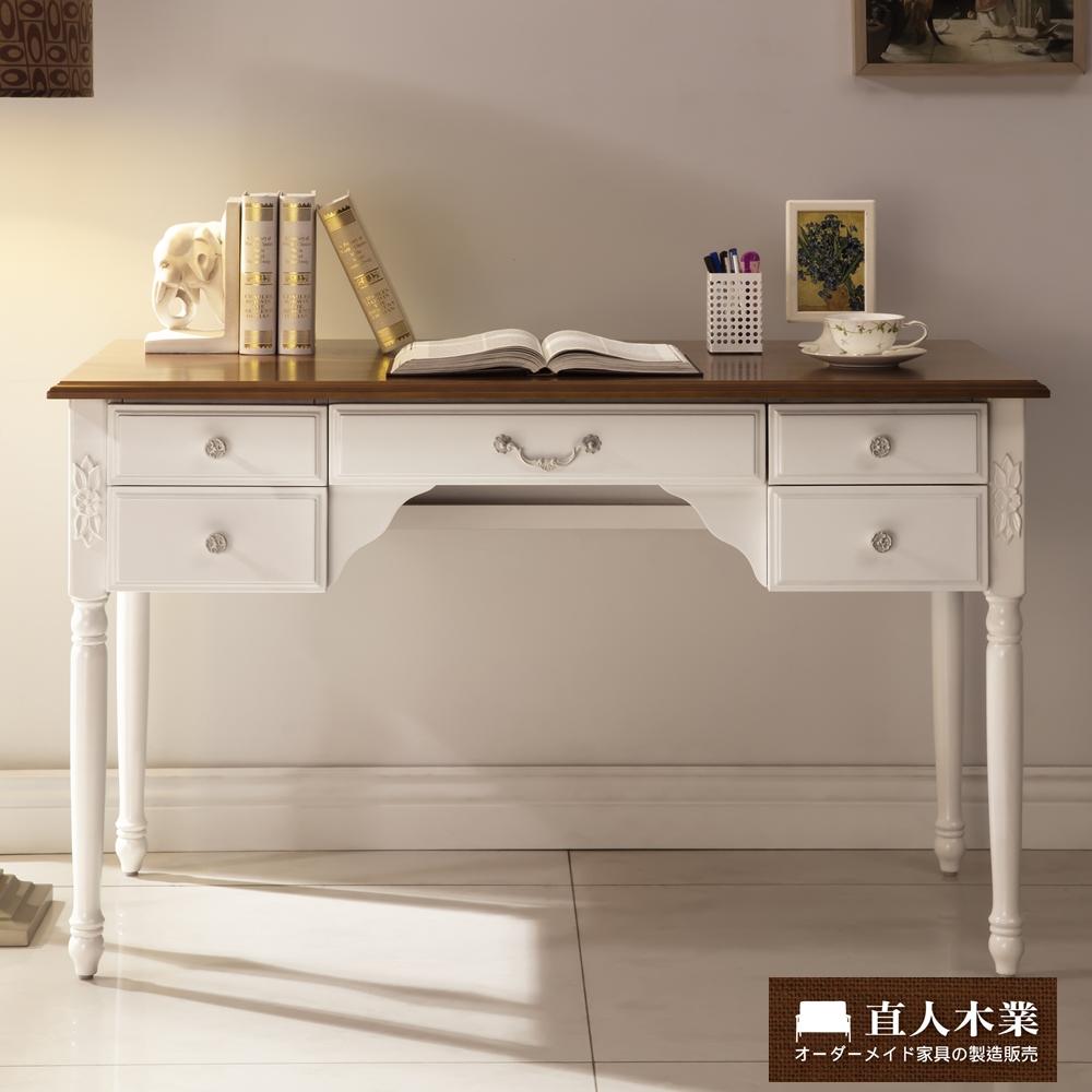日本直人木業-AVRIL白色簡約120CM實木桌面書桌(120x60x75cm)