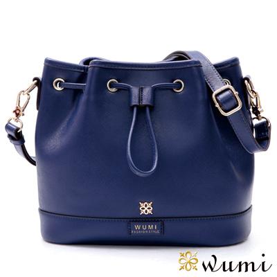 WuMi 無米 貝絲十字紋束口水桶包 伯爵藍