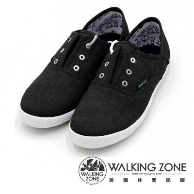 WALKING ZONE果漾YOUNG純棉帆布鞋休閒鞋 女鞋-黑