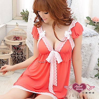 情趣睡衣 優雅香氛 薄紗半透蕾絲連身睡裙(橘紅F) AngelHoney天使霓裳