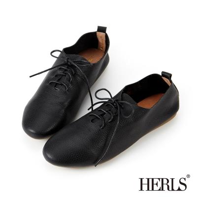 HERLS 全真皮 零著感舒適柔軟綁帶休閒鞋-黑色
