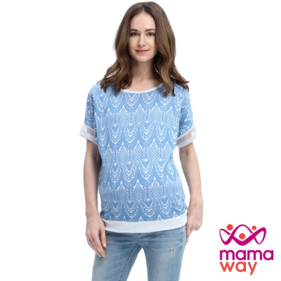 Mamaway 蕾絲緹花袖口造型孕婦裝.哺乳衣(共二色)