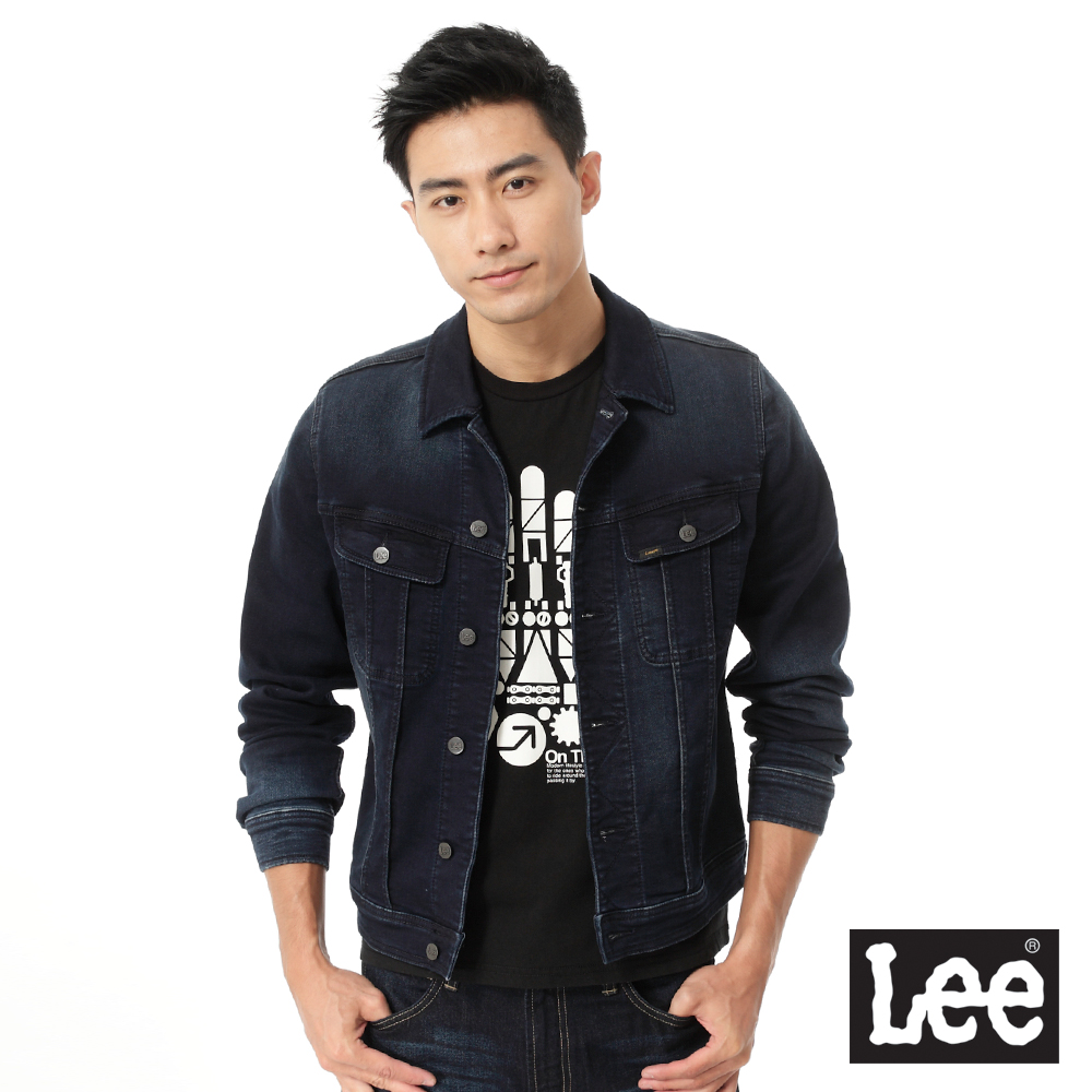 Lee 牛仔外套 彈性刷白-男款-深藍