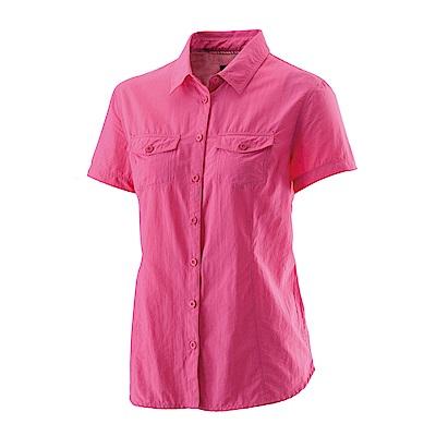 【Wildland 荒野】女排汗抗UV短袖襯衫桃紅