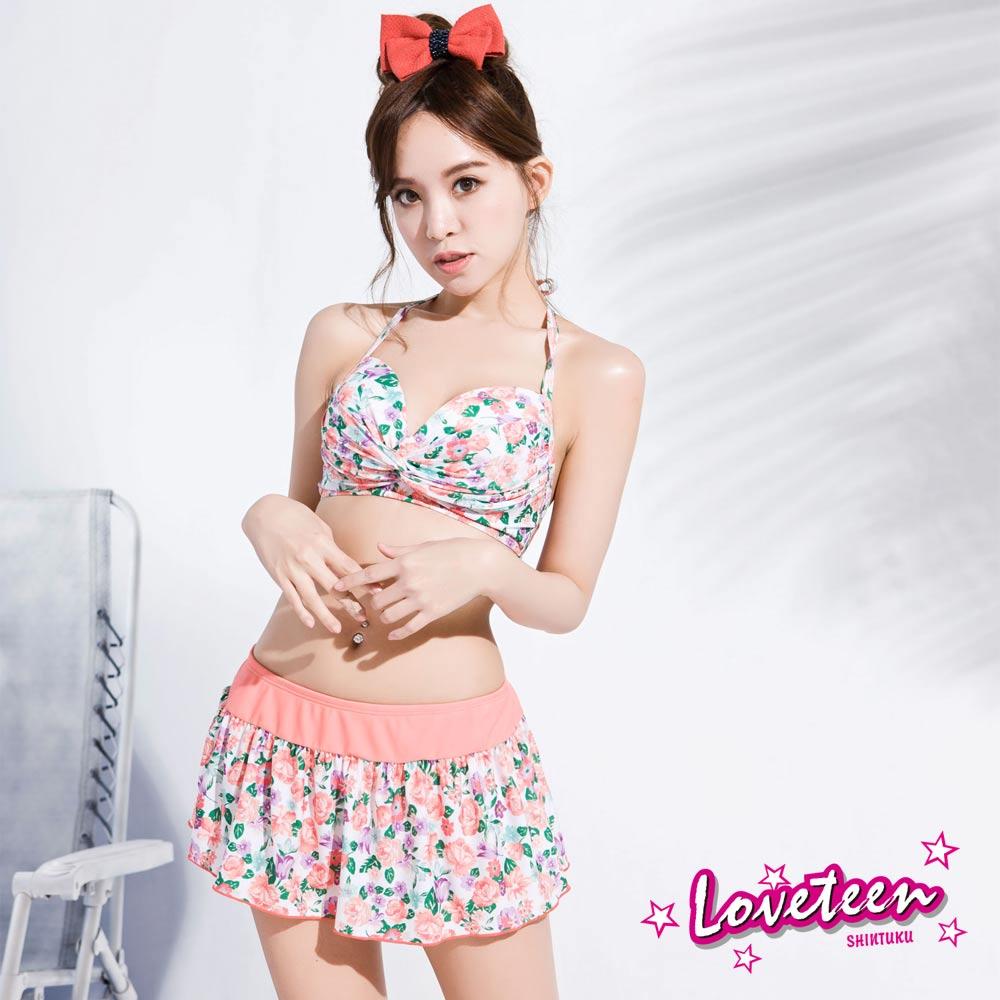 夏之戀Loveteen 比基尼泳裝 短版三件式泳衣  白底綠、粉紅碎花