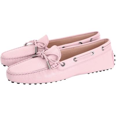 TOD'S Rubber Driving蜥蜴壓紋牛皮綁帶豆豆休閒鞋(女鞋/粉色)