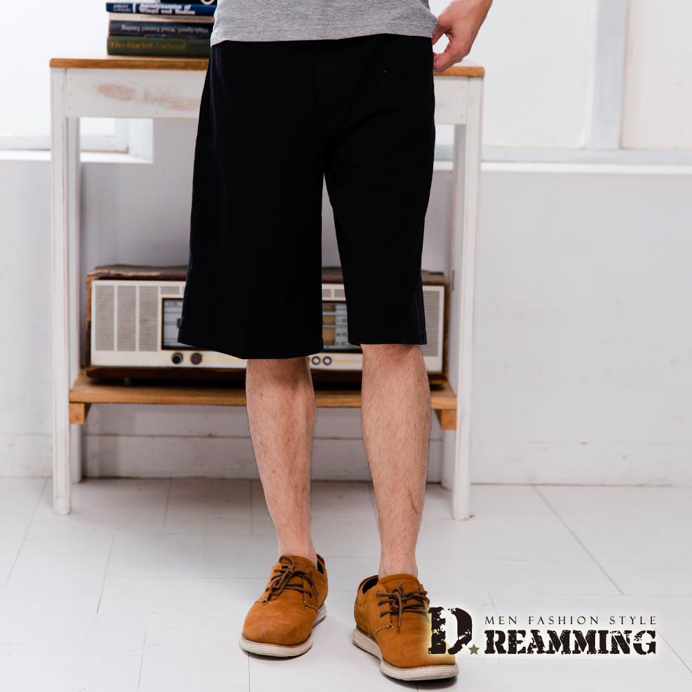 Dreamming 超輕薄百搭伸縮七分休閒短褲-黑色