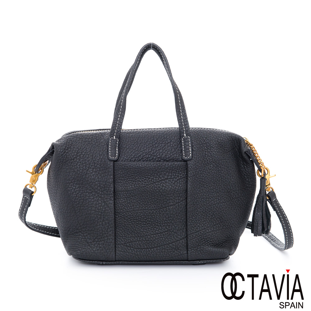 OCTAVIA 8 真皮 - JOYCE 二線滾邊手縫牛皮托特小包 - 喜悅黑