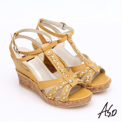 A.S.O 輕音躍 牛皮拼接雙色編織帶楔型涼鞋 黃色