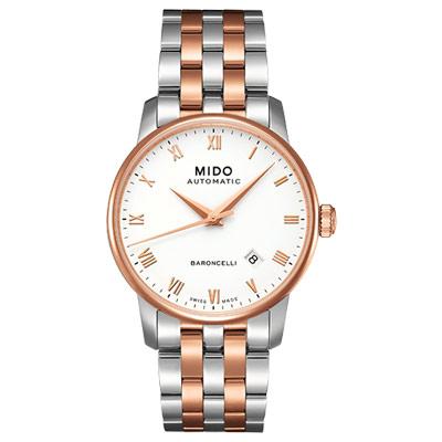 MIDO Baroncelli 復刻羅馬機械腕錶-白x半金/37mm