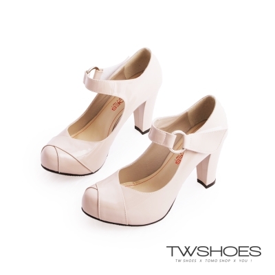 TWshoes真皮亮面瑪莉珍粗高跟鞋-米漆
