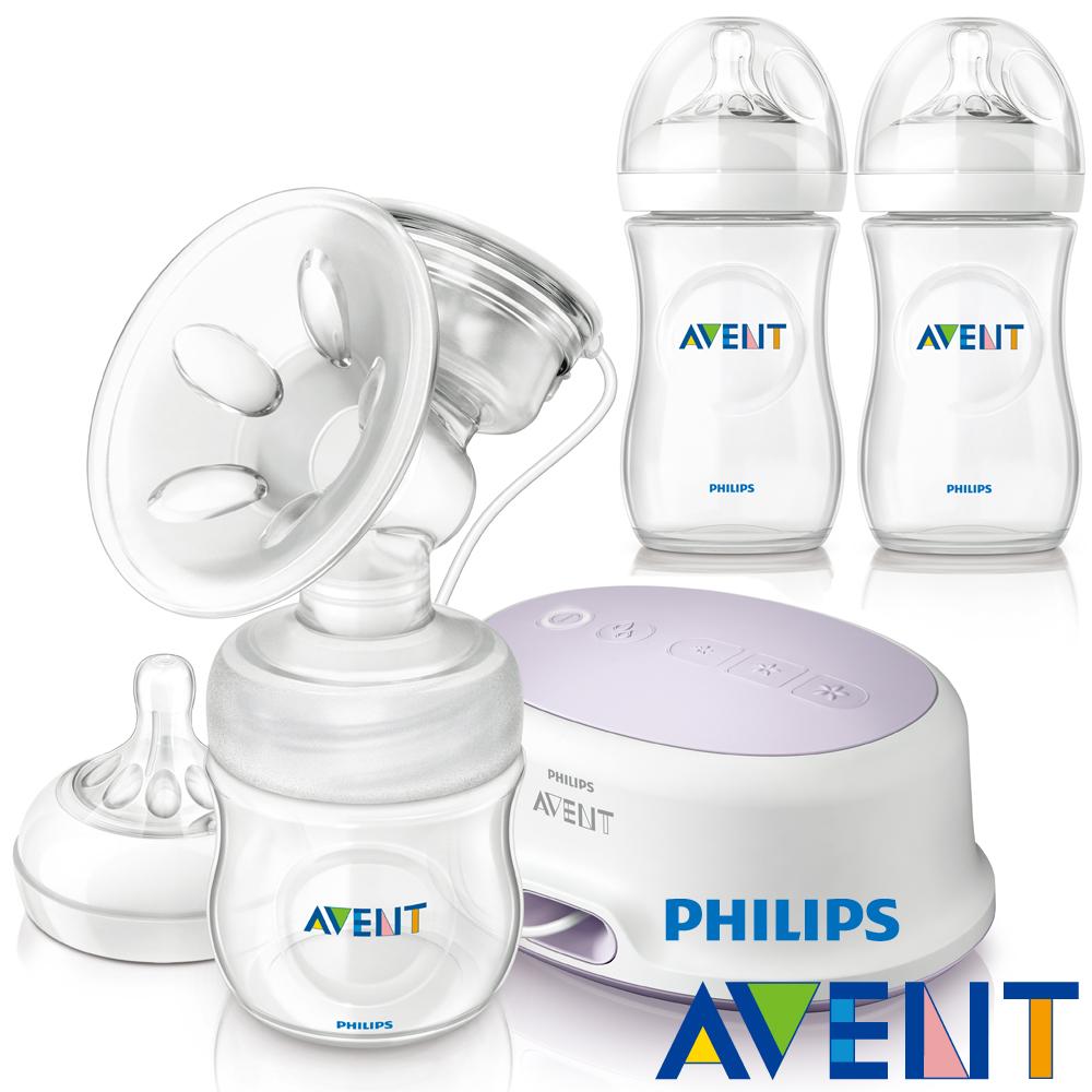PHILIPS AVENT 輕乳感PP標準型單邊電動吸乳器+PP奶瓶260ml(雙入)超值