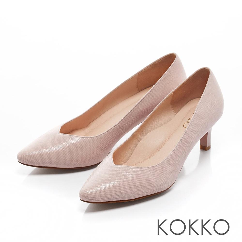 KOKKO-經典尖頭透氣真皮高跟鞋- 名媛裸