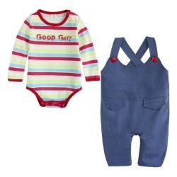 baby童衣 俏皮條紋撞色包屁衣+吊帶褲 2件套 37001