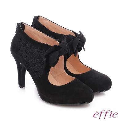 effie 耀眼女伶 絨面羊皮拼接蝴蝶蕾絲高跟鞋 黑色