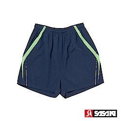 SASAKI 夜間反光抗紫外線四面彈力吸排功能慢跑短褲-男-丈青/艷綠(短版)