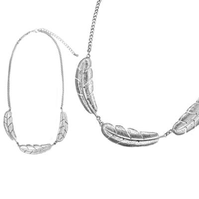 摩達客 立體落羽造型銀色項鍊
