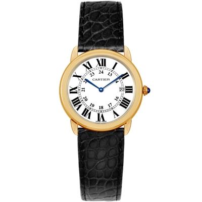 CARTIER RONDE SOLO 經典中型黃K皮帶腕錶 / 36mm