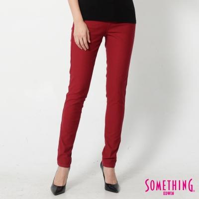 SOMETHING 基本五袋窄直筒牛仔褲-女-紅色