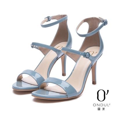 達芙妮x高圓圓 圓漾系列 涼鞋-流線細版扣帶漆皮一字高跟涼鞋-藍灰