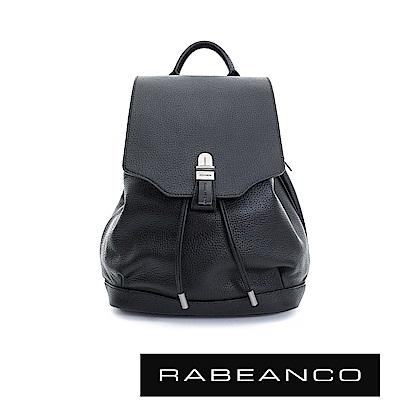 RABEANCO  經典壓扣設計束口後背包 -鋼琴黑