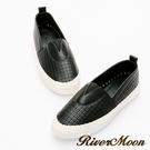 River&Moon大尺碼-方格洞洞V口麻編休閒懶人鞋-黑